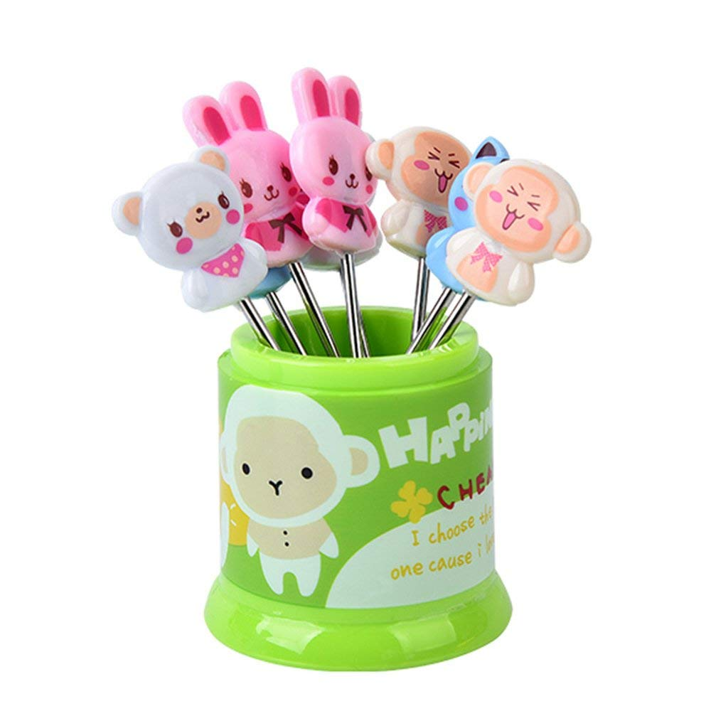 KINGSUNG 8 Pieces Fruit Forks Stainless Steel Cute Animal Food Salad Picks Dessert Forks with Forks Organizers(Color Random)