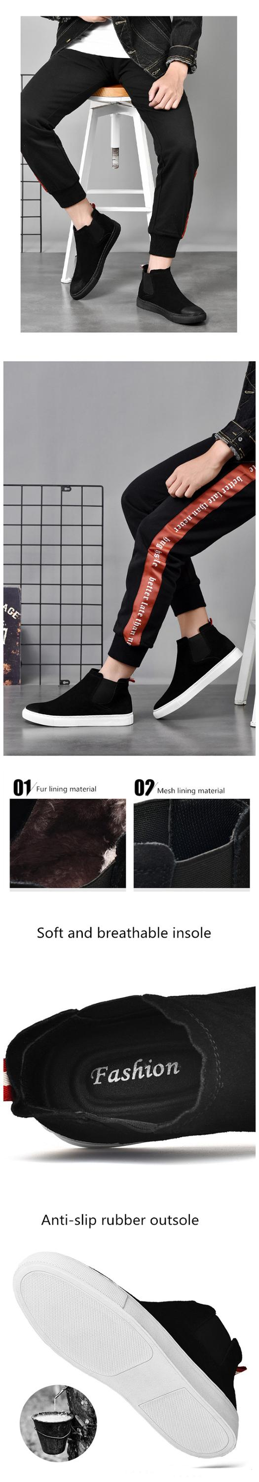 good quality cowhide upper mesh and fur  two lining materials are available casual boots men
