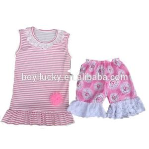 Wholesale Remake Kids Boutique Clothes Girls Summer Clothing 2 Pcs Set Infants Ruffle Short Baby Outfit