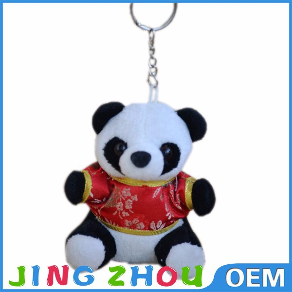 Factory hot sale custom cute stuffed keyring ,mini plush panda keychain