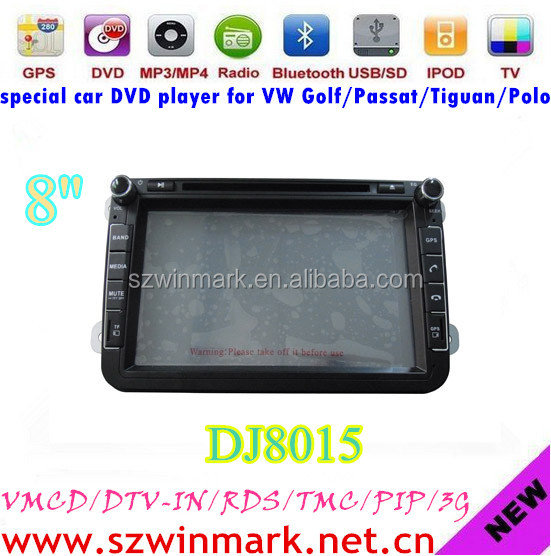 Hot sale entertainment car GPS for VW/SEAT/SKODA with bluetooth radio gps tv rds tmc pip 3g etc DJ8015