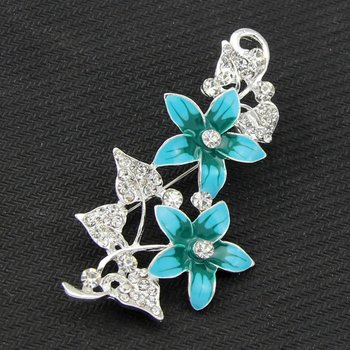 Hot Sale Fashion Vintage Clear Rhinestone Leaf Green Enamel Flower Brooches