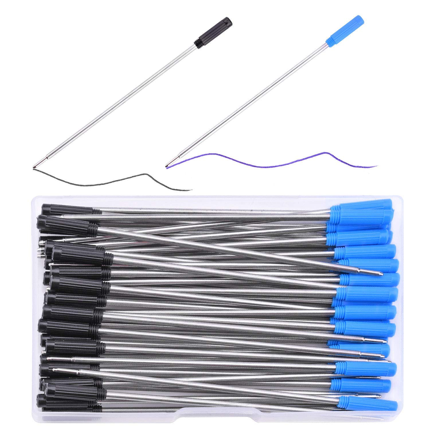 WXJ13 25 Pack 4.6 Inch Black Ink and 25 Pack Blue Ink Ballpoint Pen Refills with Plastic Storage Case, Black and Blue Ink