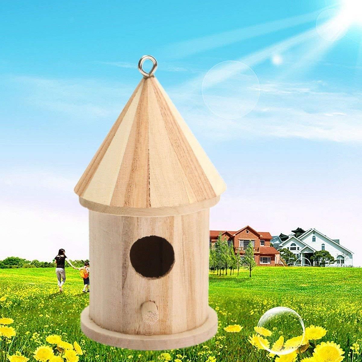 Seed Feeders NEW Home Garden Wooden Bird House Birdhouse Hanging Nest Nesting Box Decoration Kit