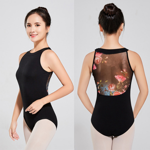 2018 Fashion Round Neck Floral Printed Back Ballet Dance Tight Women Sexy Leotard
