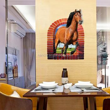Große Rote Pferd Durch Die Fenster Wand Aufkleber Badezimmer Fenster Tür  Wohnzimmer Wand Dekoration Abnehmbare Vinyl Wand Aufkleber - Buy Große Rote  ...