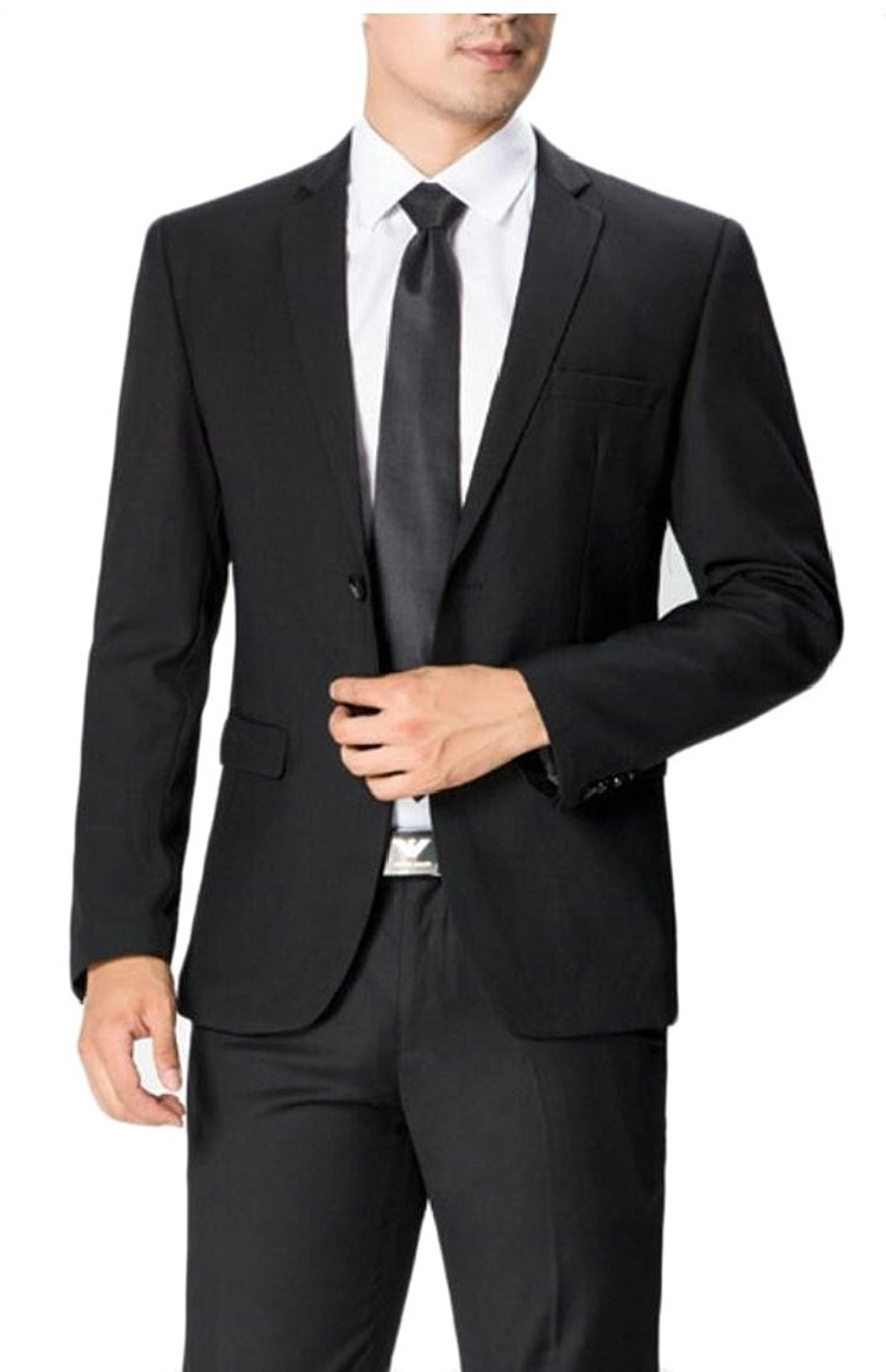 XQS Mens Suit Single-Breasted One Button 2-Pieces Formal Suits Set