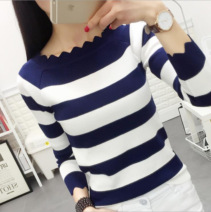 ladies Casual Autumn Striped Crochet Sweaters Fashion Top Mujer Women Winter Clothes Knitted Pullovers Sweaters