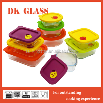 Borosilicate Glass Food Storage Containersilicone Lid For