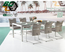 BOZE Outdoor Hotel Stainless Steel Garden Furniture rattan chair with granite top table