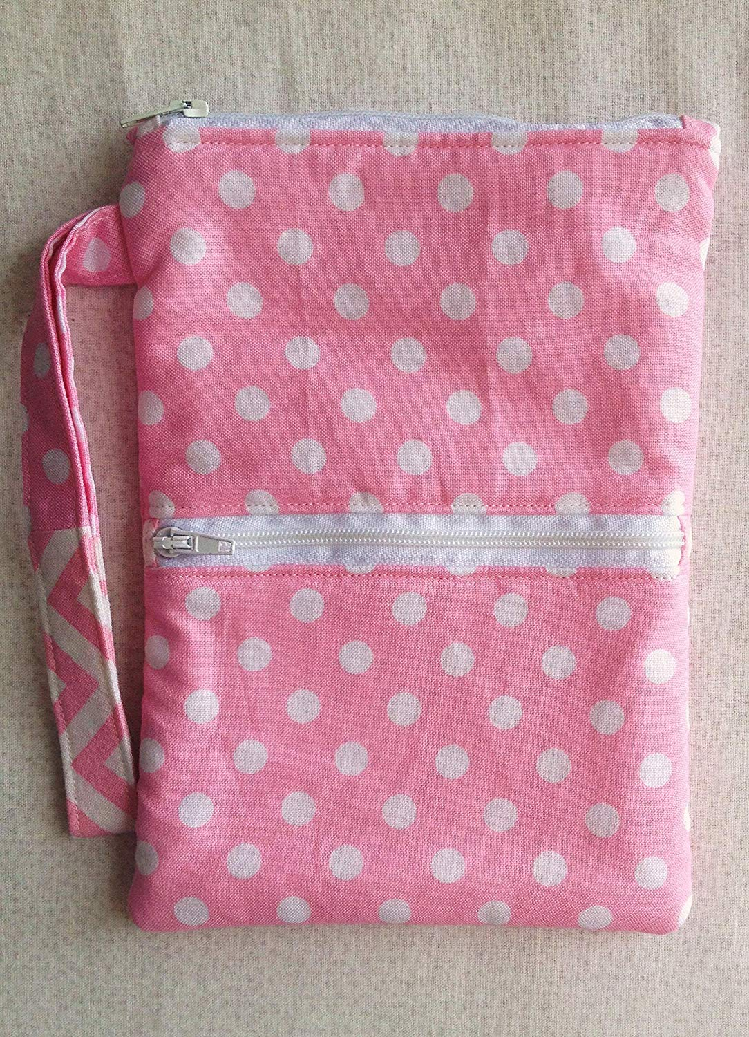 472eb194e Get Quotations · Pink Polka Dot Wristlet, Clutch, Cell Phone Case, Zipper  Pouch, Phone Bag