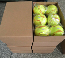 "12"" Yellow Pro-Leather Cover Fast Slow Pitch Raised Seam Softball Cork Poly Core Cor.40.44.47.50.52 Compression 375 650"