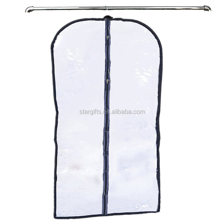 Fashion Simple Heavy Duty Fancy Full Zipper Transparent Suit Cover PVC Wholesale Plastic Garment Bag