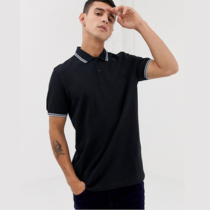 new in men's polo shirt twin tipped polo in black 100% pique polo t shirt