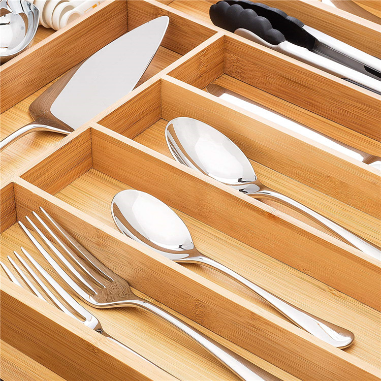 9 compartment extra large cutlery tray bamboo cutlery