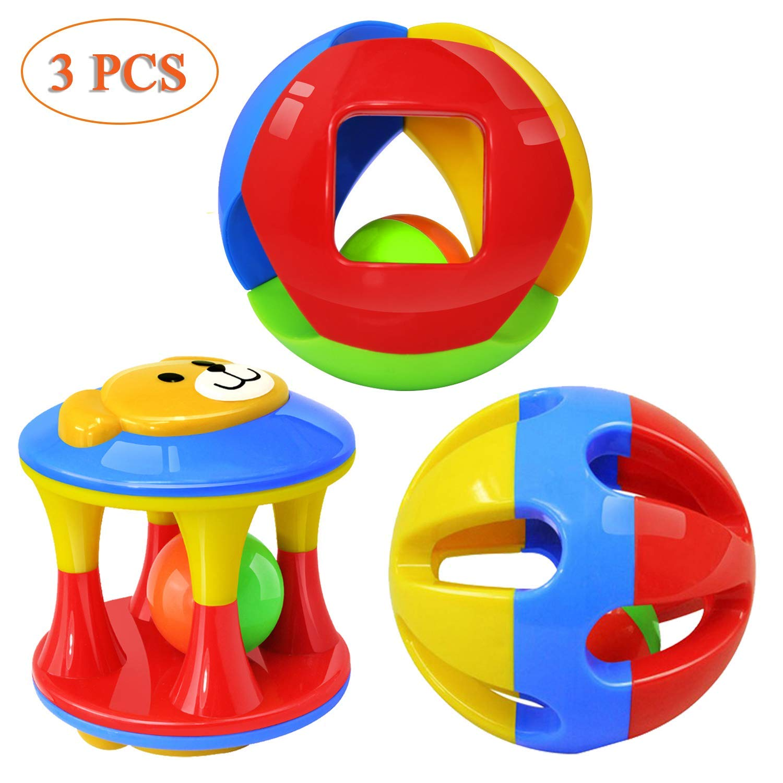 Kingtree Baby Rattle Toys, 3 Pack Rolling Bell Balls Colorful Hand Shake Bells Infants Safety Multicolored Shaker Handbells Set Toddler
