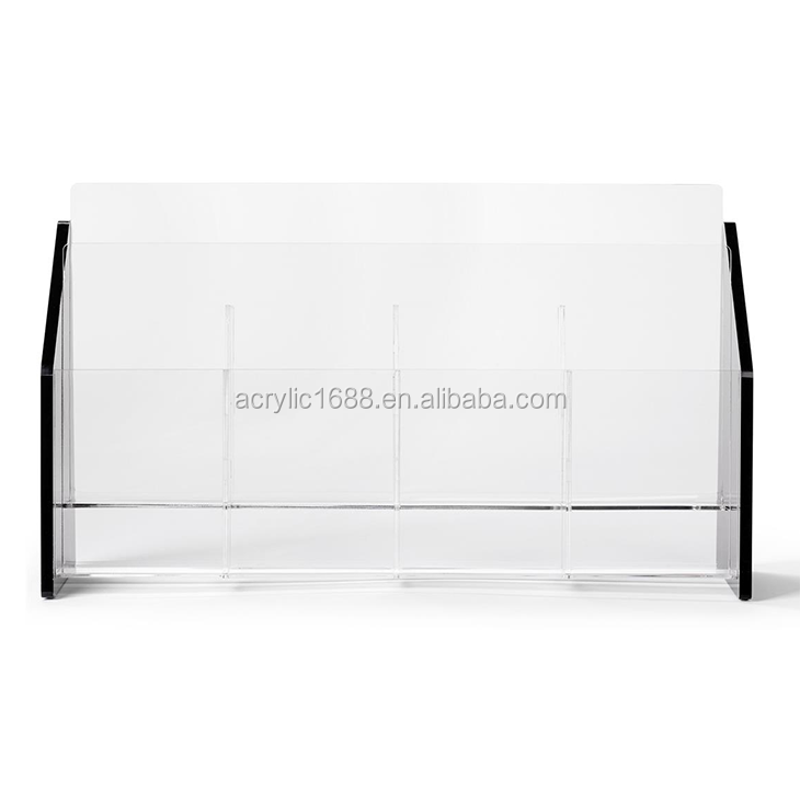2-Tiered Tabletop Black Acrylic Brochure Holder  with 8 Pockets