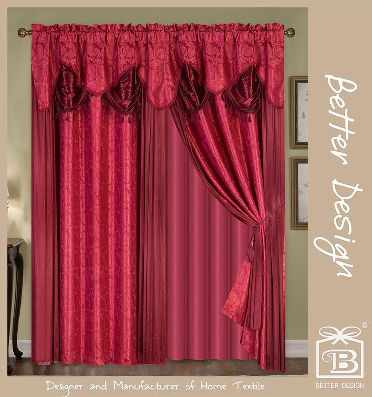 10 minites beantwoord mooie polyester bourgondi 2 stks woonkamer verduisterende gordijnen met volant