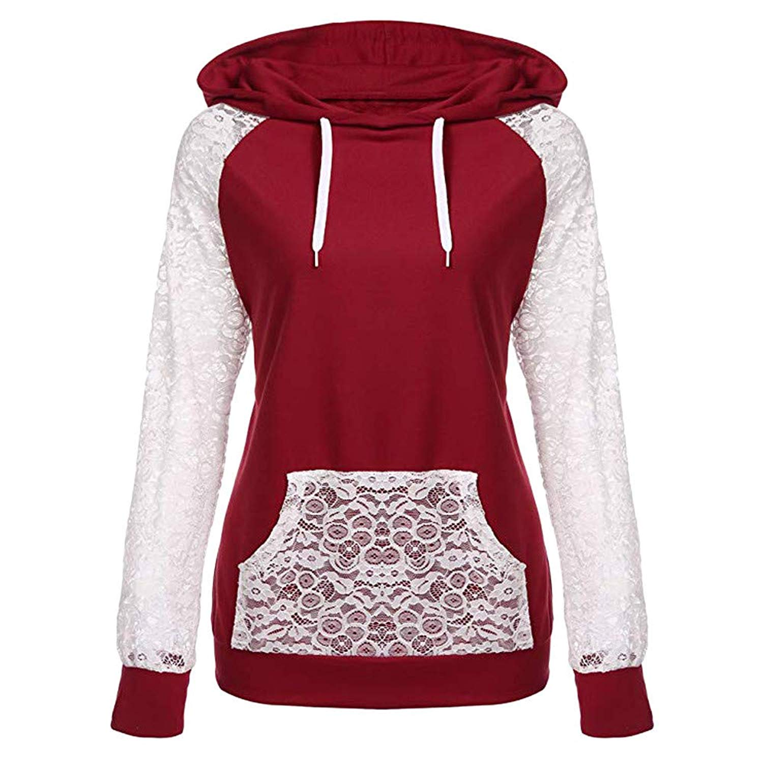 BOLUOYI Blouses for Women Fashion 2018,Womens Lace Patchwork Hooded Sweatshirt Pullover Hoodie Coat Outerwear Tops