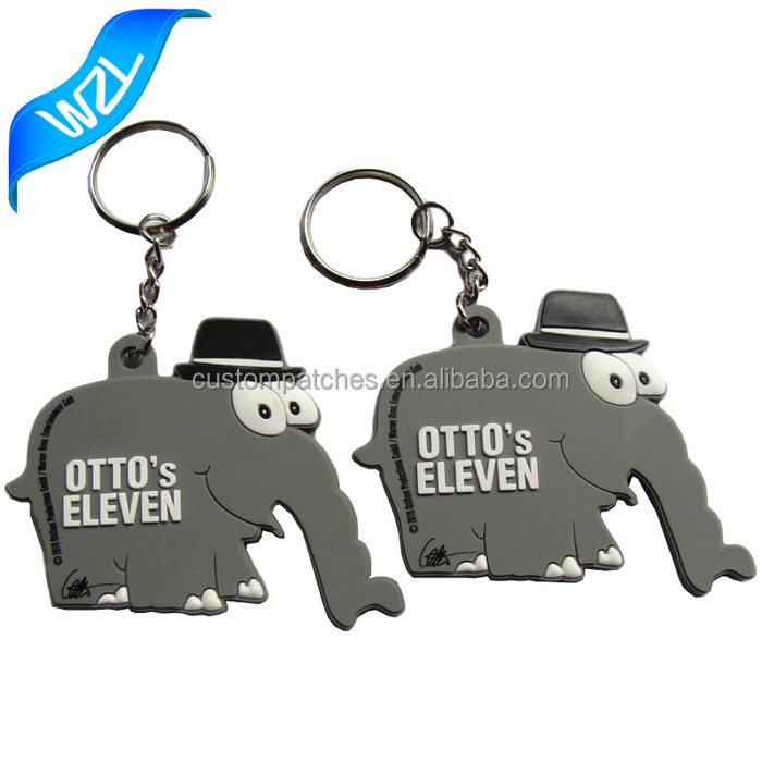 Custom keychain and offer sample Soft PVC rubber grey elephant brand keyring