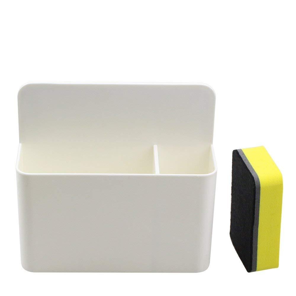 White Magnetic Marker Holder for Whiteboards,Magnetic Dry Eraser Organizer Mount Tray Rack,Powerful Neodymium Magnets,Fits 8 Dry-Erase Markers.Bonus 1 pcs Magnetic Whiteboard Eraser