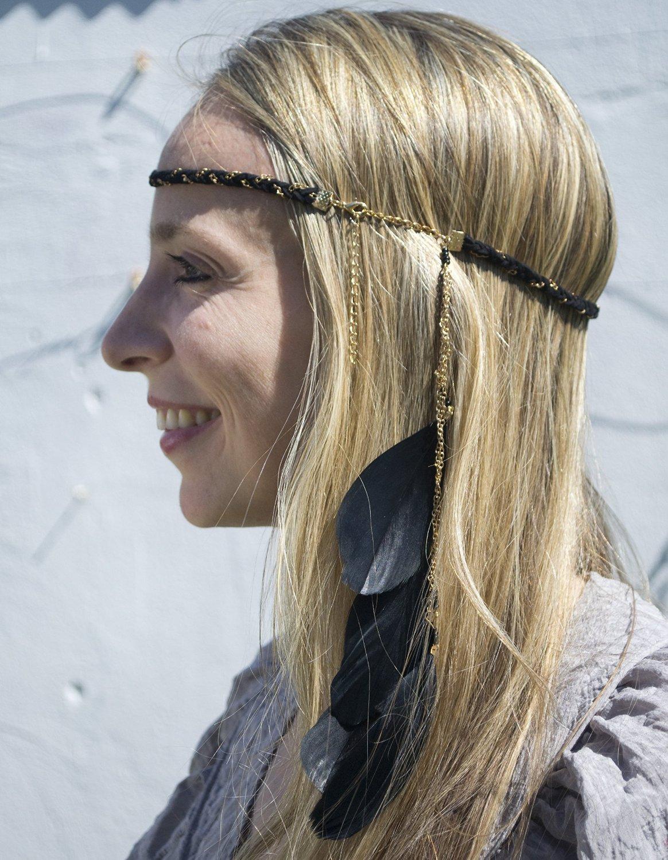 QueenMee Black Feather Headband 1920s Headband Boho Headband Boho Feather Headband  Black Boho Headband Black Gold 59f3383ff9e