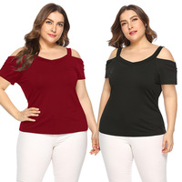 Ready to Ship In Stock Fast Dispatch Hot Selling Women Plus Size Short Sleeve Off The Shoulder Blouses T shirt