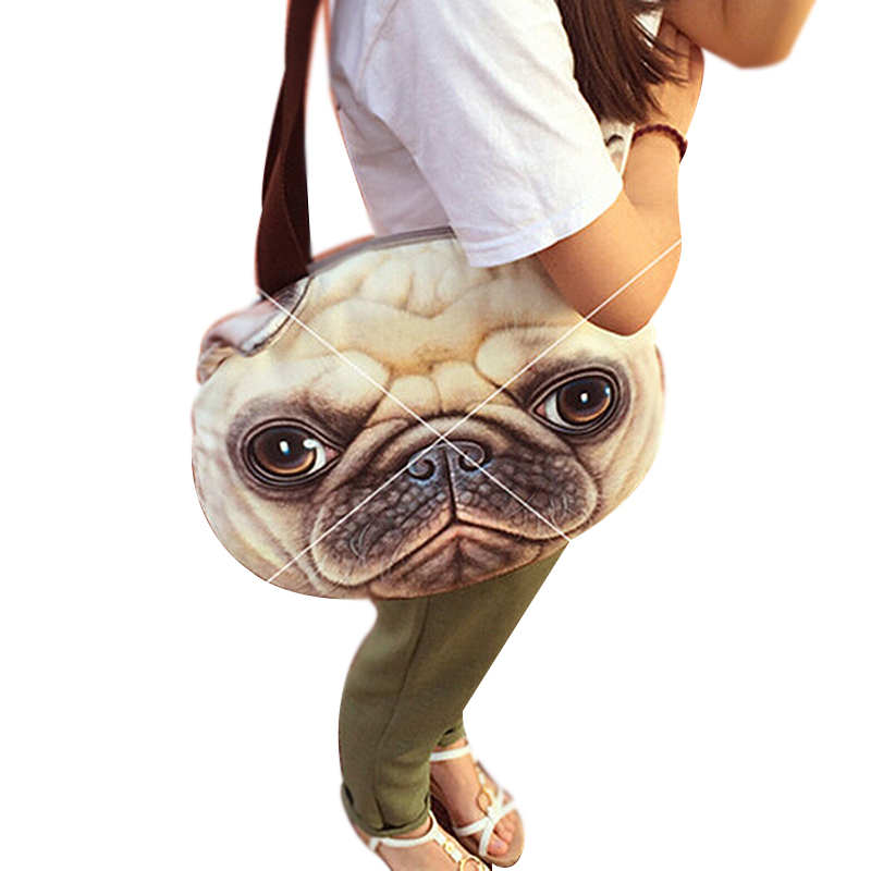 Original Retro Cartoon Animals Bags Dog Head Personalized Tote Bag Women's Fashion Handbag 3D Printed Cat Head Shoulder Bag 2015