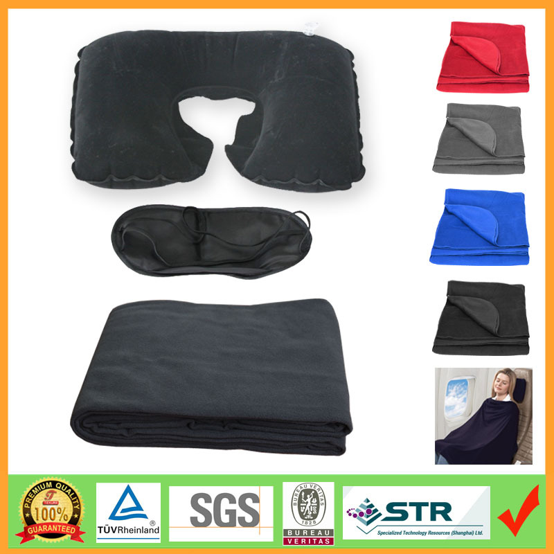 3-pc Travel kit with blanket,inflatable pillow and eyemask in a bag