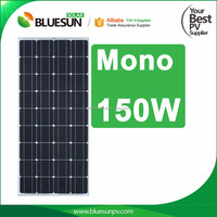 Best sell bluesun high efficiency low price Mono 150W price per watt solar panels for home use