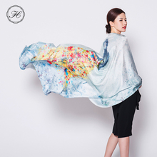 Custom Digital Printed 100 Pure Silk Satin Square Neck Scarves For Lady