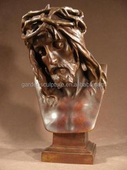 Calidad Superior Cera Perdida Decorativo Bronce Jesus Busto - Escultura-decorativa
