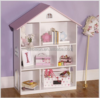 Lovely White European Style Wooden Kids Bedroom Dollhouse Bookcase Furniture