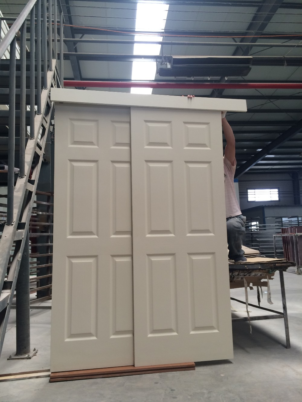 Contemporain double portes coulissantes chambre grange - Rail double porte coulissante ...