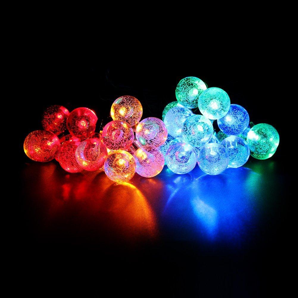Outdoor Garden Solar String Lights 20ft 30 LED Crystal Ball Waterproof  Outdoor String Lights Solar Powered