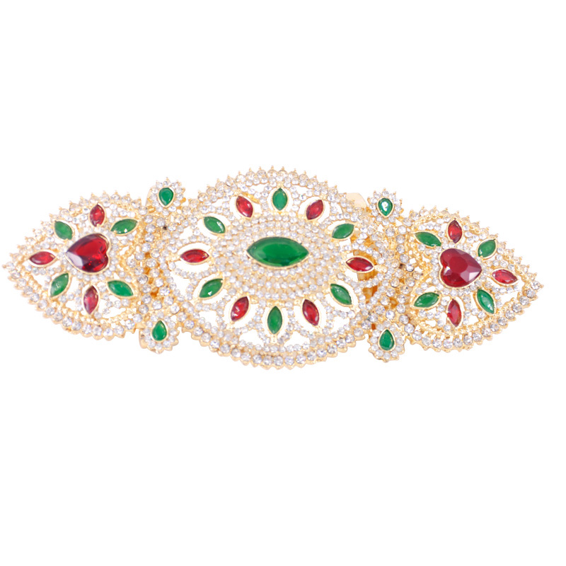 Colors Rhinestones Waistband with Solid Gold Plating Fashion Moroccan Jewelry Waist Belt Women Costume Jewelry Chain Belt