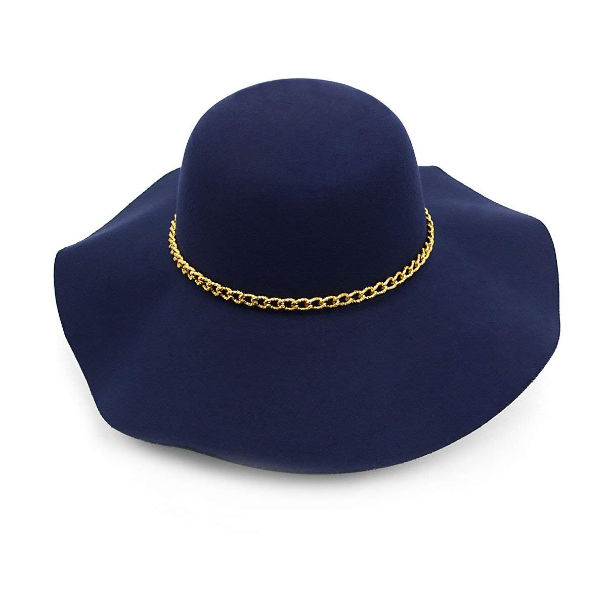 063cb09bdb6 Get Quotations · Women s Felt Wide Brim Floppy Fedora Hat With Gold Tone  Chain Band