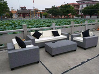 Synthetic PE Rattan With Waterproof Fabric Sofa Sets Garden Patio Furniture