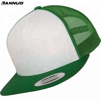 Kelly green white flexfit classic foam mesh flat bill yupoong snapback  trucker hat 45abc9bfd06