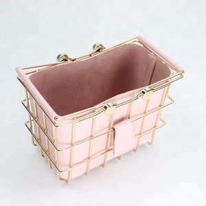 550-PU High class gold plating metal wire storage basket with PU leather bag