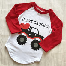 Wholesale boys heart crusher print raglan t shirts girls Valentine days customized t shirts designs for kids
