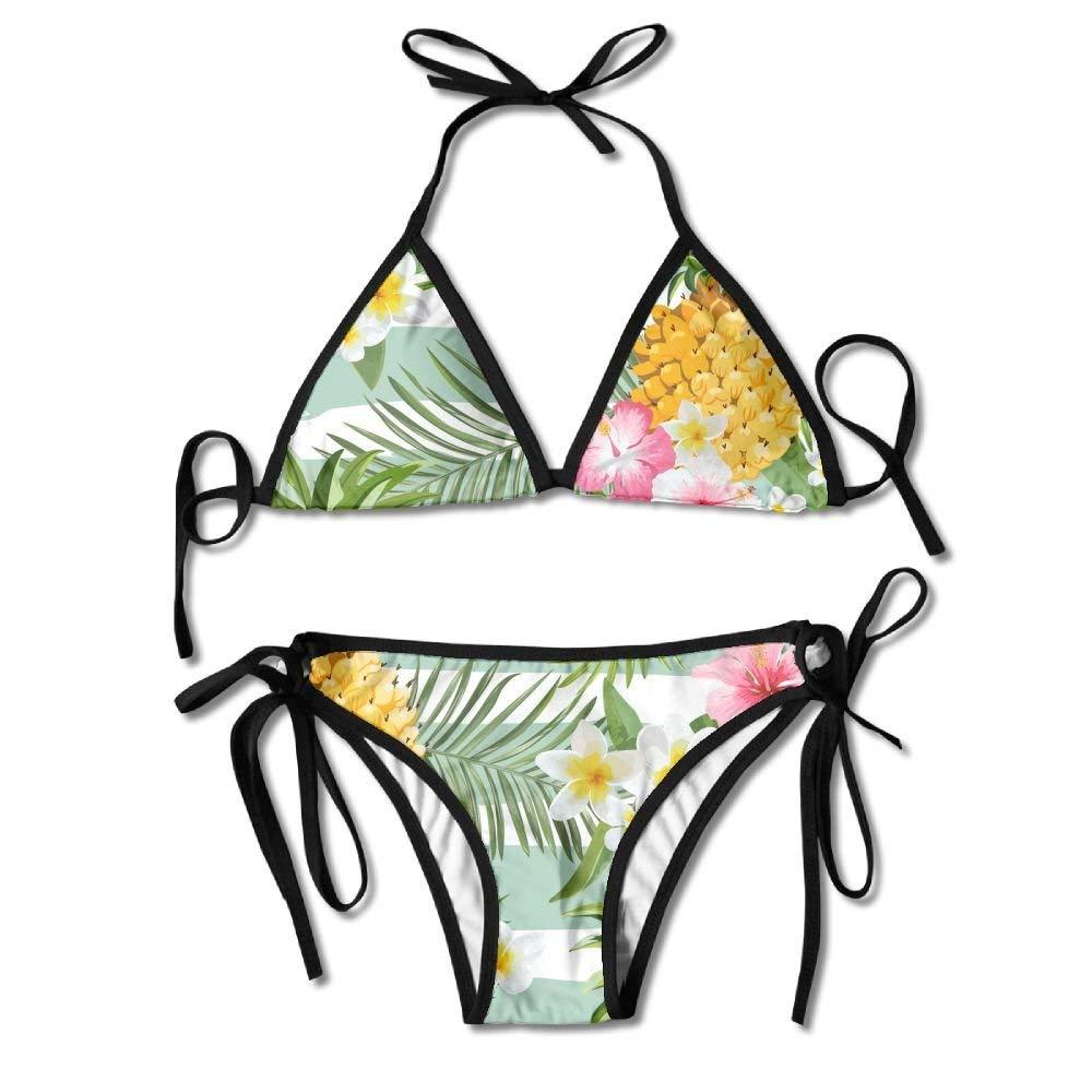 cffc53cac9bac Get Quotations · Bikini Top, Fashion Floral Print Pineapples Women Thong  Halter Push Up String Bikini Cover Underwear