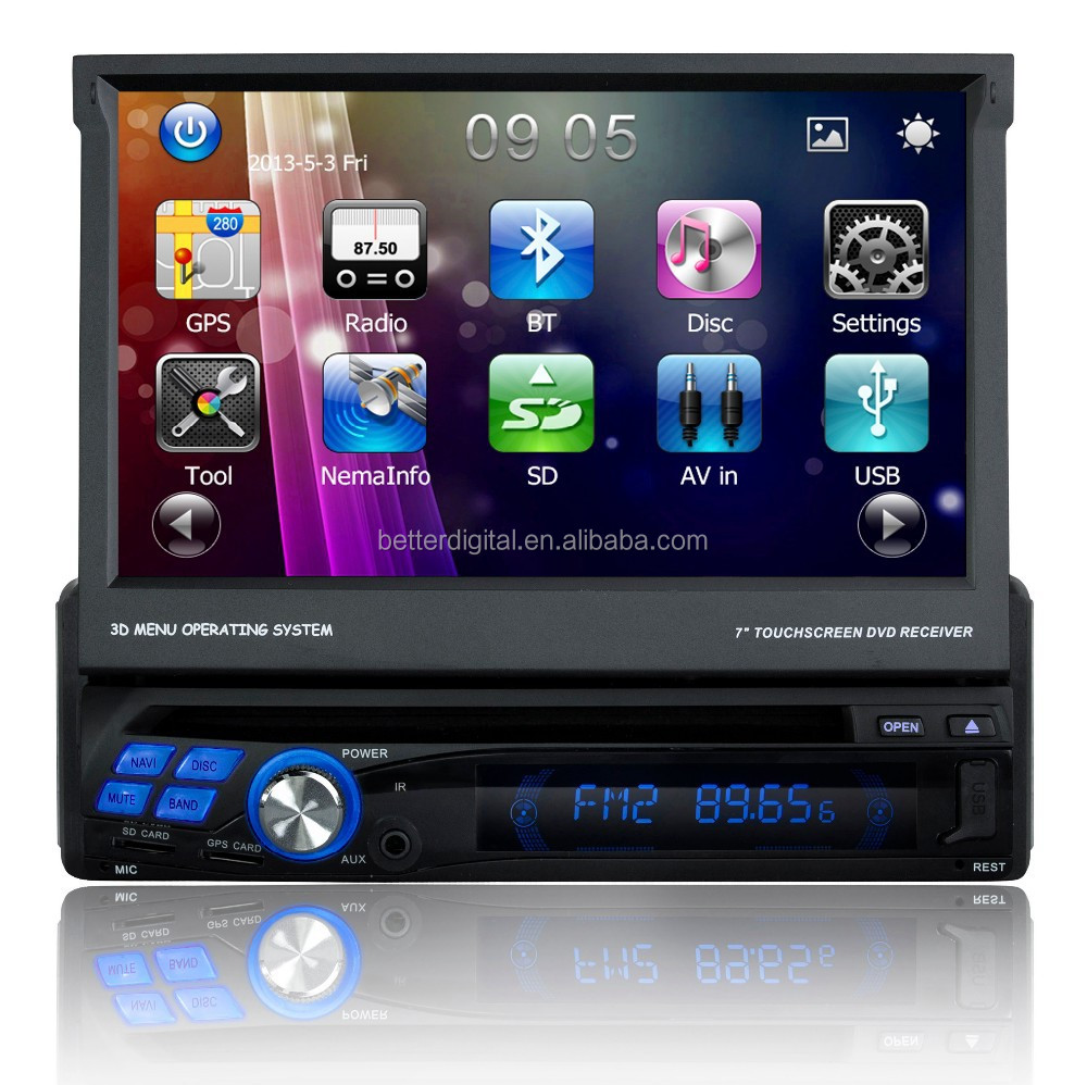 1 din 7 inch car dvd player with GPS AND CE and ROHS certificates
