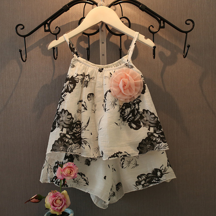 spring summer children clothes sets fashion baby girl ramie cotton 2pcs suits korean kids chiffon flower suspender top