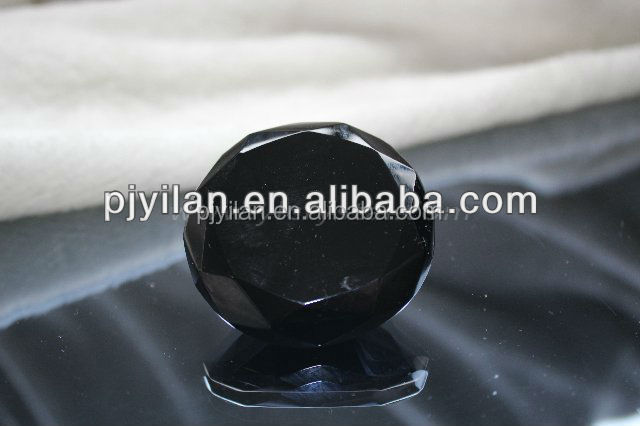 good glass black crystal diamond paperweight