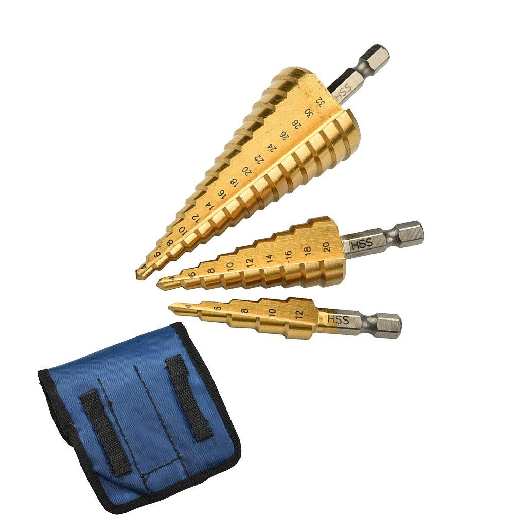 3 Pcs Large HSS Titanium Nitride Coating Steel Step Cone Drill Bit Set Hole Cutter 4-12/20/32mm