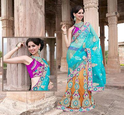 Graceful Trends Designer Saree Multi Shaded Handwork Stylish Desi Blouse Choli