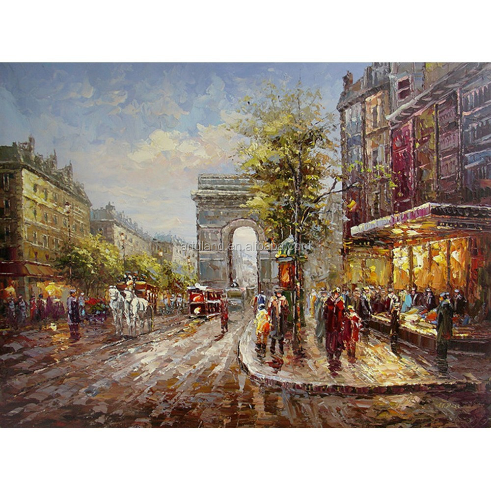 Hot sale Paris famous street scene oil painting for prompt delivery