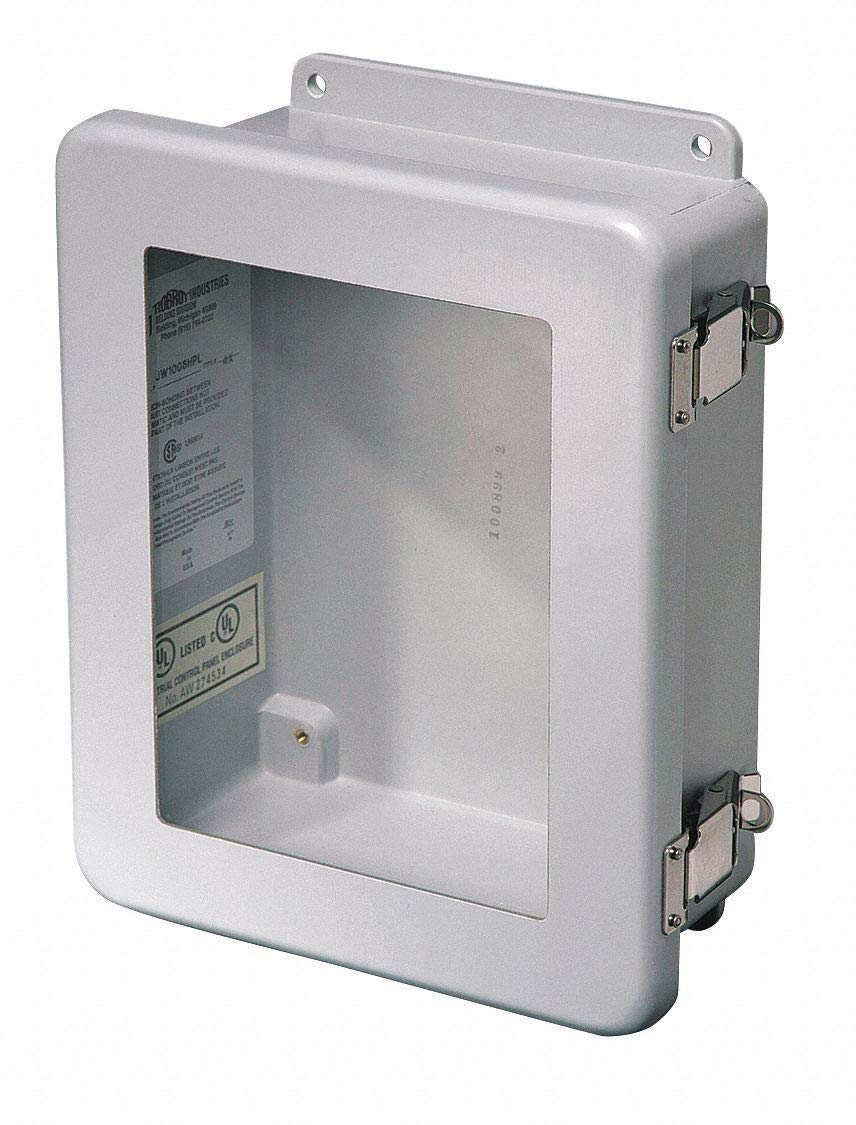 "14""H x 12""W x 6""D Non-Metallic Enclosure, Light Gray, Knockouts: No, Padlockable Latch Closure Metho"