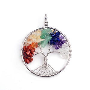 JOYA GIFT Necklace Silver Crystal 7 Chakra Fashion Jewelry Chain Woman Tree Of Life Pendant